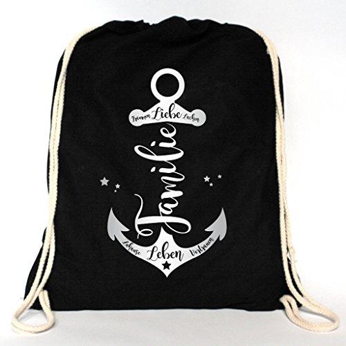 Wandtattoo-Loft Rucksack Turnbeutel Familien Anker mit verschiedenen Schriftzügen in der Farbe silber – Baumwolle Tasche mit Aufdruck/schwarz