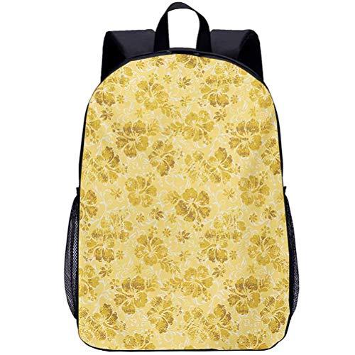 Custom Shoulder Backpack Teens Kids School Bag Hawaiian Hibiscus Flowers Pattern Grunge