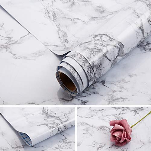 Arthome Marmor Folie Selbstklebende, 43x254cm Weiß PVC Vinyl Wasserdicht Langlebig Tapete Klebefolie Möbelfolie Marmorfolie zum Aufkleben Fensterbank, Wände, Türen, Küche