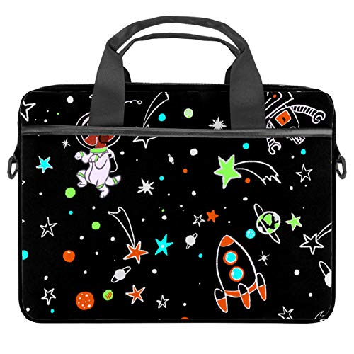 Dog and Robot in Space Laptop Bag Messenger Bag Slim Briefcase with Crossbody Shoulder Bag Computer Bag Computer and Tablet Carrying Case for 13.4-14.5In