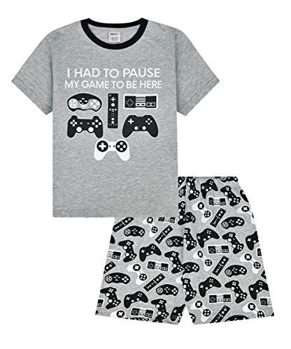 Pijama corto para gamers con la frase «I Had to Pause My Game to Be Here» y mandos, color gris Gris gris 15-16 Años