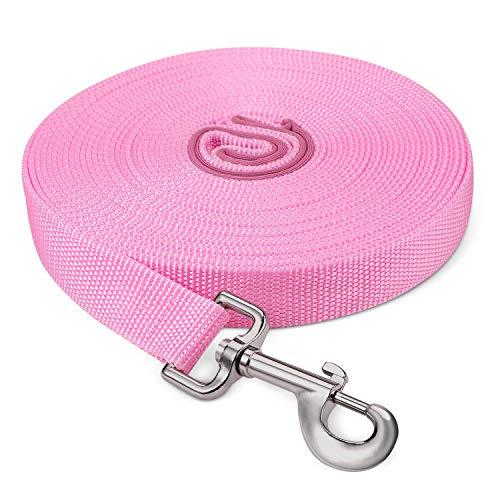 Fttouuy Schleppleine Hunde - 10m Rosa Übungsleine mit Gepolsterten Griff- Robuste Trainings Leine aus langlebigem Nylon - Laufleine für große & Kleine Hunde