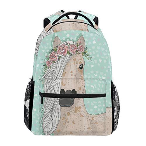 School Backpacks Flower Horse Student Backpack Big For Girls Boys Elementary School Shoulder Bag Bookbag