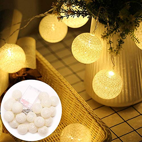 AceList 20 LED Cotton Ball Fairy String Lights for Kid Bedroom Indoor Christmas Party Wedding Holiday Festival Celebration Garden Party Home Decoration(White)