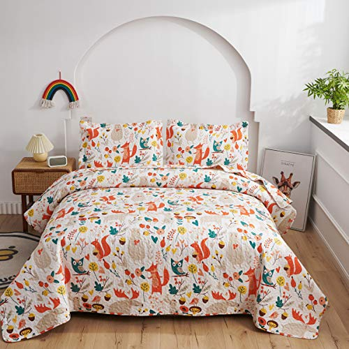 Kids Fox Quilt Twin Size Coverlet Children Boys Cute Jungle Lightweight Bedspread Animal Bedding Set,Moose Bear Owl Printed Reversible Kids Quilts+2 Pillow Shams