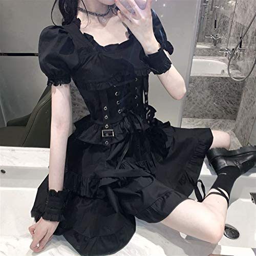 Mcttui Lolita Kleidung Lolita Dress Streetwear Shirt Japanisches Schwarz Gotisches Lolita Kleid Vintage Sommer Süße sexy Lace-up Punkkleider Frauen Square Kragen Puff Sleeve Kleid