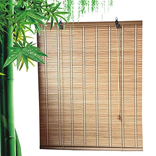 Bambusrollo für Außenbereich,Atmungsaktives Natürliches Bambus Raffrollo Jalousine,Blickdicht Holzjalousien,70% Sonnenschutz Sichtschutz Rollo Seitenzugrollo für Fenster/Türen (100x160cm/39x63in)