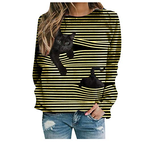 Oversized Sweatshirts for Women, Womens Casual Tunic Tops Long Sleeve Shirts Leopard Print Patchwork Pullover Graphic Tee Top Blouse Fall Clothes Yellow