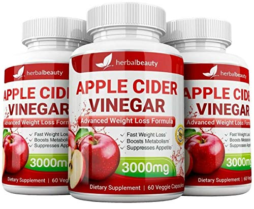 High Strength Raw Apple Cider Vinegar Capsules 3000mg Pure Weight Loss and Detox 60 caps USA (3 Pack)
