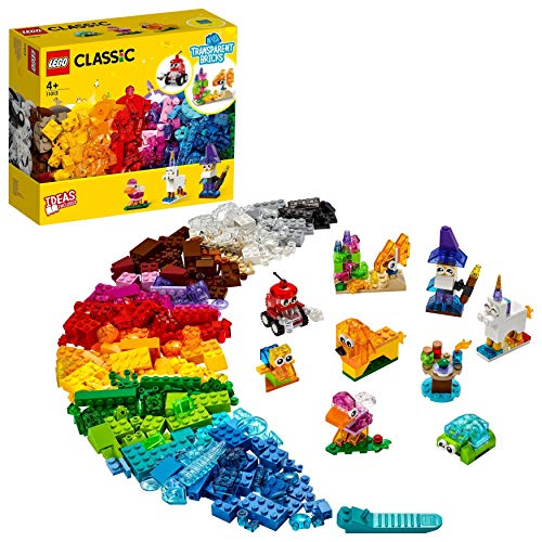 LEGO 11013 Classic Creative Transparent Bricks Building Set with Animals for Kids 4+
