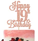 Happy 19th Birthday Cake Topper, Cheers to 19 Years, Hello 19, 19th Birthday Anniversary Party Decorations Rose Gold Glitter.