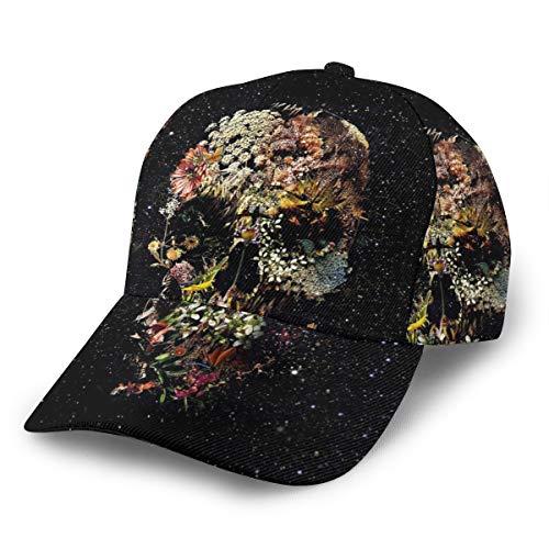 Gorra de béisbol Inaayi Smyrna con diseño de Calavera y Flores, Gorra de béisbol Plana para Hombres y Mujeres, con Tirantes Ajustables, Color Negro