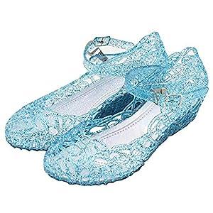 TYHTYM ラバーサンダル キッズ ラバーシューズ シンデレラ プリンセス風 16cm-20cm ガラスの靴 ストラップ キラキラ お姫様 ドレスシューズ 滑り止め 子供靴 ハロウィン コスプレ最適 エルサシューズ 29(17.5cm)