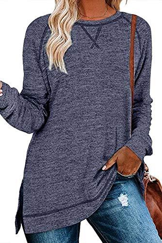 FANGJIN bluzki damskie Oversize koszulka w paski koszula bluzka duże rozmiary okrągły dekolt sweter z długim rękawem damski ciemnoniebieski rozmiar XXL