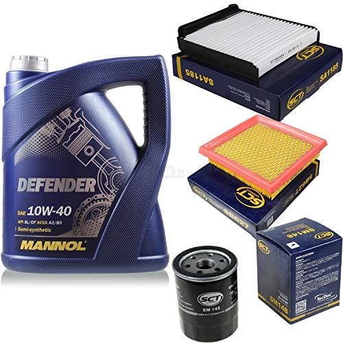 Filter Set Inspektionspaket 5 Liter MANNOL Motoröl Defender 10W-40 API SL/CF SCT Germany Innenraumfilter Luftfilter Ölfilter