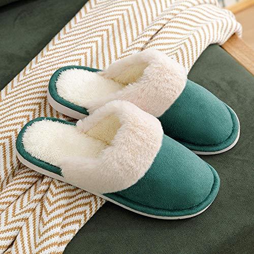 Nwarmsouth Calzado sin Cordones para Interiores y Exteriores,Zapatos de algodón Antideslizantes de Suela Gruesa, Pantuflas Calientes Resistentes al Desgaste-3 Verde_35-36,Zapatillas de casa Ant