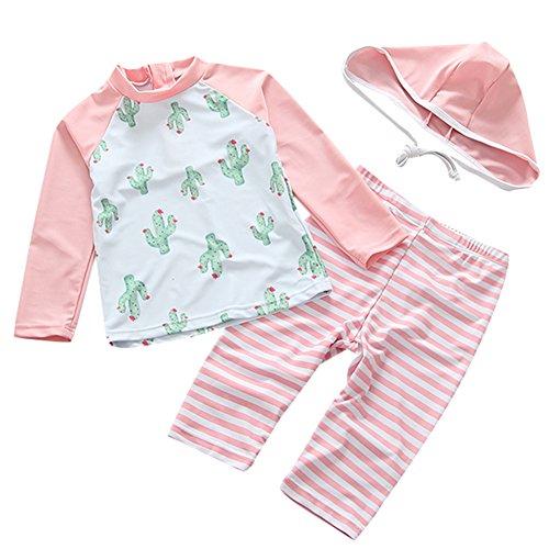 UV Sun Protective Baby Girls Swimsuit 3/4 Sleeve Kids 3pcs Cactus Bathing Suit Rash Guards UPF 50+