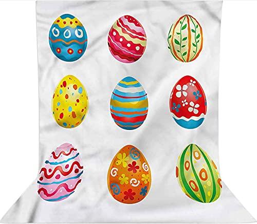 Sfondo fotografico da 2,1 x 3 m, motivo: uova dipinte a pois, decorazioni in tessuto in microfibra, schermo pieghevole ad alta densità per la fotografia Photo Booth fondale