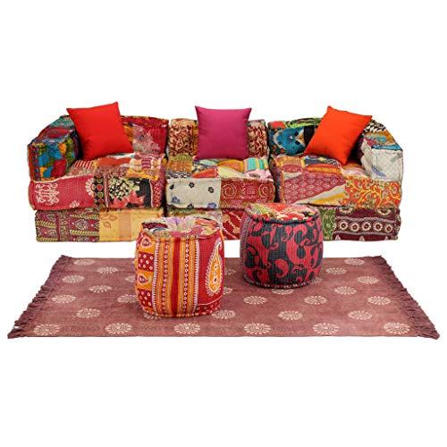 UnfadeMemory - Sofá Modular de Tela, sofá de salón, sofá tapizado, sofá de Tela con Pouf, Alfombra y cojín, como Cama de sofá Chaise Longue