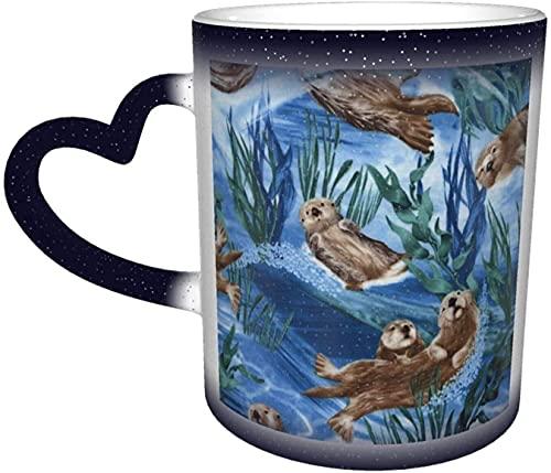 MENYUAN Taza mágica con diseño de nutria marina sensible al calor, color cambiante en el cielo, divertido arte tazas de café, regalos personalizados para los amantes de la familia, amigos, azul