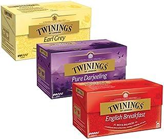 Twinings 3er Pack Earl Grey, Pure Darjeeling, English Breakfast, je 25 Beutel, 3x50g