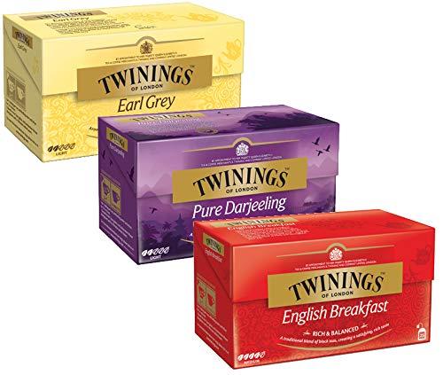 Twinings 3-Pack Earl Gray, Pure Darjeeling, English Breakfast, 25 Bags Each, (3x50g)