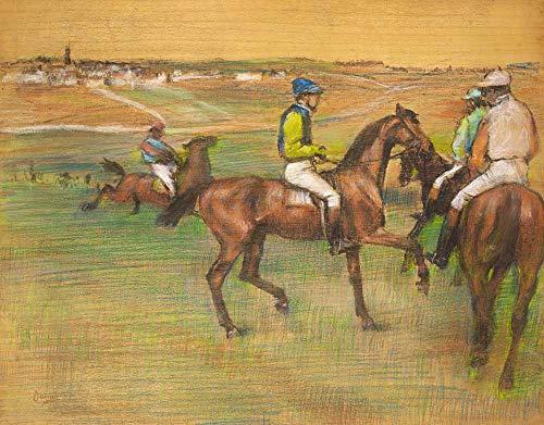 Edgar Degas - Los Caballos De Carreras Reproducción Cuadro sobre Lienzo Enrollado 120X95 cm - A Caballo Pinturas Impresións Decoración Muro