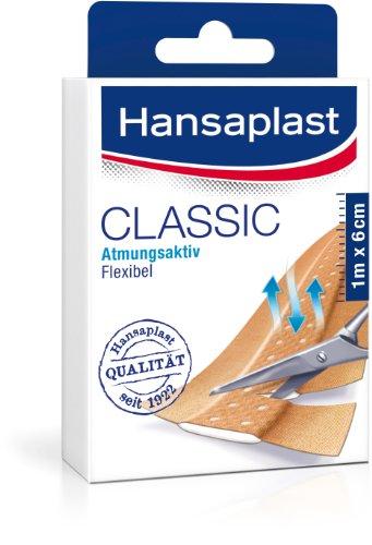 Hansaplast Classic Pflaster 1 m x 6 cm, zuschneidbare Wundpflaster in Meterware mit extra starker Klebkraft, flexible und atmungsaktive Heftpflaster