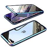 Funda Cristal Templado para iPhone SE 2020/iPhone 8/7 [Vidrio de Doble Cara][Adsorción magnética][Marco de metal][Resistente Arañazos] 360 Protección Funda para Apple iPhone SE Transparente,Azul