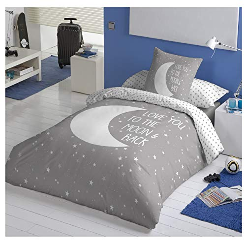COTTON ARTean Funda Nordica Reversible Moon Grey Cama de 90 ALGODÓN 100%