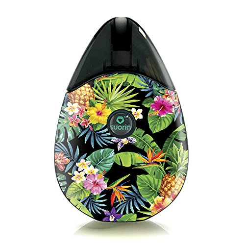 Skin Decal Vinyl Wrap for Suorin Drop Vape Kit Skins Stickers Cover/Tropical Flowers Pineapple Hibiscus Hawaii