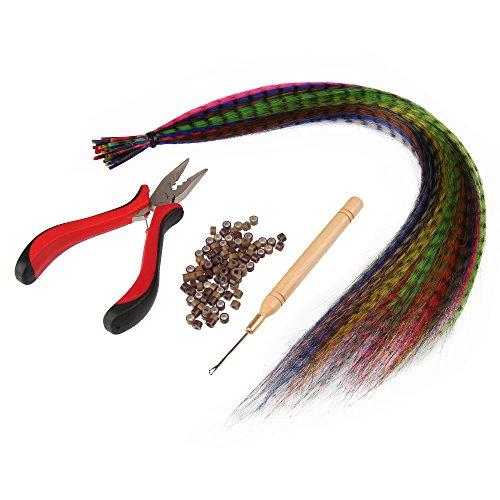 Beauty7 Kit Salon de Coiffure 20pcs Extensions Plumes Synthétiques 40 cm de Long Différentes Couleurs et Outils d'Applications à Mèches de Cheveux Comprenant 50 Anneaux, Pinces et Crochet Poignée en Bois