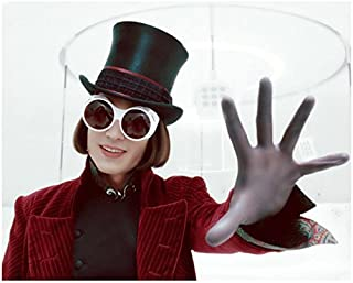 Johnny Depp as Willy Wonka Weaing Goggles with Hand Out 8 x 10 Inch Photo