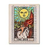 The Sun Tarot Póster de ilustración vintage Arcanos mayores Tarot Card Impresiones en lienzo Arte de la pared Decoración Pintura Adivino Gift-24x32in Sin marco