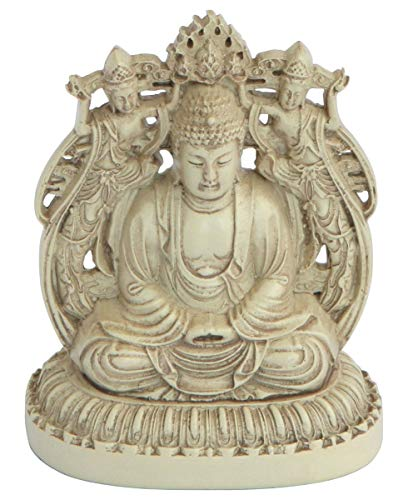 Buddha Groove Double Sided Miniature Buddha Statue with Ivory Stone Finish