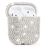 Vliigts Glitter Rhinestones Protective Cover for AirPods 2 & 1 Upper Lower Separated Design, Luxury Crystal Chains and Hard PC Bling Air Pods Accessories Diamond Case for Girls Women