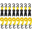 8-Pack Stanley S1000 Black/Yellow 1 x 10 Inch Ratchet Tie Down Straps