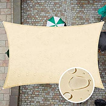 ColourTree 7  x 12  Beige Rectangle TADR0712 Waterproof Sun Shade Sail Canopy Awning Shelter Fabric Screen 95% UV Blockage UV & Water Resistant for Outdoor Patio Garden Carport  We Make Custom Size