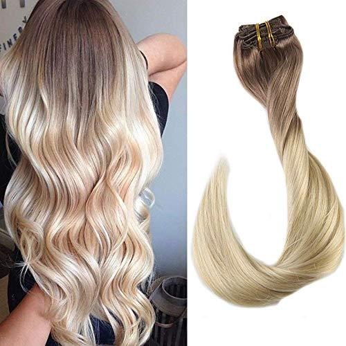 Easyouth Haar Extensions Echthaar Clip Farbe #6T613 Mittelbraun bis Gelbblond 18 Zoll/7Pcs 80g Remy Haar Extensions Clip in Remy Human Haar