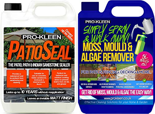 5 Litres - Simply Spray & Walk Away Concentrate Patio - Fencing - Decking - Mould Algae & Moss Killer (5L Simply Spray with 5L PatioSeal)