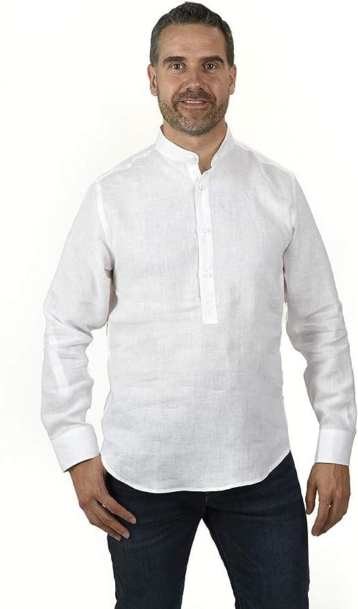 Camisa POLERA Cuello Mao Lino Blanca (XL): Amazon.es: Ropa