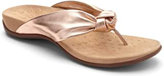 Vionic Women's Rest Pippa Toepost Sandals – Ladies Leather Knot Flip Flops with Concealed Orthotic Support