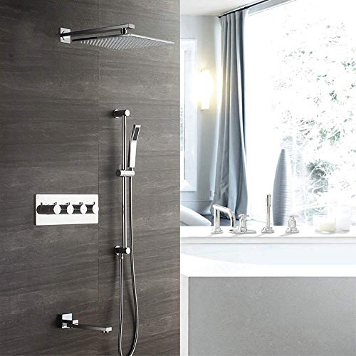 Manyao 30cm Plaza de pared de plata del sistema de ducha 3 modos de temperatura constante juego de ducha de cobre grifo de la ducha de pulverización superior con el levantamiento de Rod Hermosa prácti