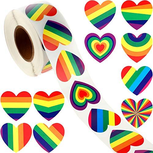 WILLBOND 800 Stücke Regenbogen Herz Aufkleber Bunte Streifen Herz Aufkleber Klebeband Aufkleber für Geschenk Handwerk Umschlag Dekorationen Zubehör
