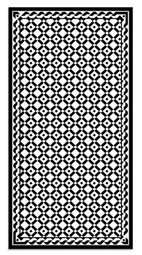 Panorama Alfombra Vinílica Geometría Cuadrados Negro 80x150 cm - Alfombra Cocina Vinilo - Alfombra Salón Antideslizante, Antihongos e Ignífuga - Alfombras Grandes - Alfombras PVC