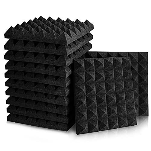 Geepro 12 Paneles Pirámide Espuma Acústica 30x30x5cm, Absorción De Sonido, Auto Extinguible, para Podcasting, Estudios de Grabación, Habitación, Negro