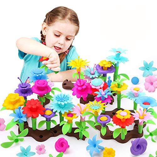 REMOKING Toys for for 3-8 Year Old Girls,127 PCS Flower Garden Building Toys,Outdoor Games for Kids,DIY Floral Arrangement Pretend Playset for Creativity,Toys Gifts for Kids Age 3,4,5,6,7,8