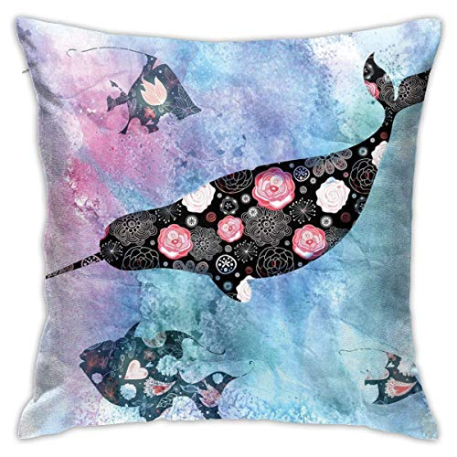 N/Q Polyester Throw Pillow Case Cushion Cover Narwhal Whale and Fish Psychedelic with Abstract Art Sofa Home Decorative (18x18 inch)
