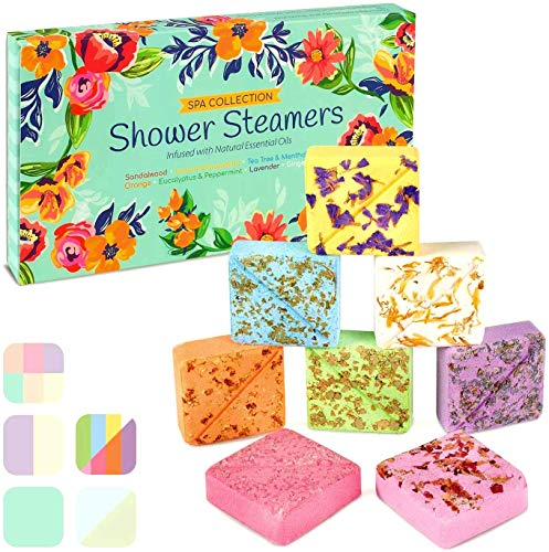 InYourNature Shower Steamers Aromatherapy Gifts, Set of 8 50g Vapor Tablets with Natural Essential Oils Lavender for Sinus and Stress Relief, Shower Bombs for Women and Men, Luxury Gift for All Tastes