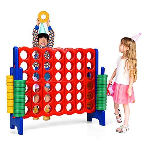 COSTWAY Vier-Gewinnt Spiel, 4 Gewinnt Spielbrettsätze, Vier in Einer Reihe Spiel mit 42 Jumbo Ringen und Schieberegler zum schnellen Neustart für Kinder und Erwachsene (Blau)